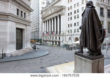 View of Wall Street from the steps of the Federal Hall on a sunny day on June 25, 2016 in New York, NY.