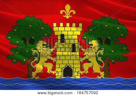 Flag of Bayonne is a city and commune and one of the two sub-prefectures of the department of Pyrenees-Atlantiques in the Nouvelle-Aquitaine region of south-western France. 3D illustration
