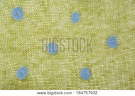 Knitted Green Mohair Fabric With Dots