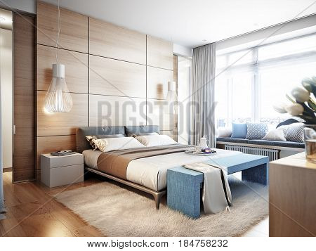 Bright and cozy modern bedroom with dressing room large window and broad window sill for read with soft seats and cushions. 3d render