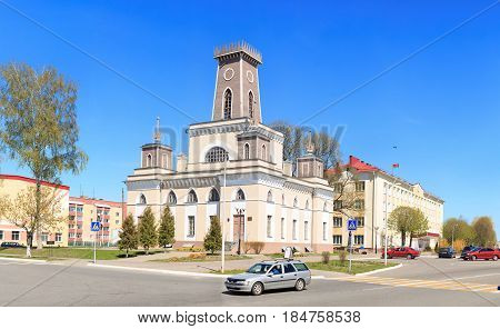 Chechersk, Belarus - May 3, 2017: Wooden City Hall Of The 18Th Century.