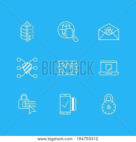 Vector Illustration Of 9 Privacy Icons. Editable Pack Of Encoder, Easy Payment, Network Protection And Other Elements.