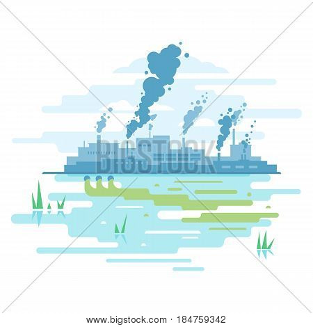 Factory buildings silhouette with smoke from chimney, smog and fog in sky, ecology concept, water pollution from industrial pipe, ecological disaster, dirty toxic effluents, flat style illustration, isolated