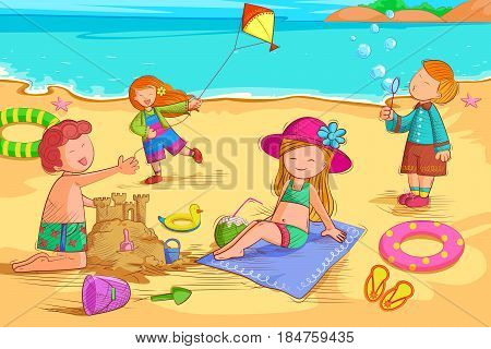 Vector design of Kids making sand castle on beach in Summer Vacation