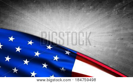 American flag with grey grunge copyspace for your background