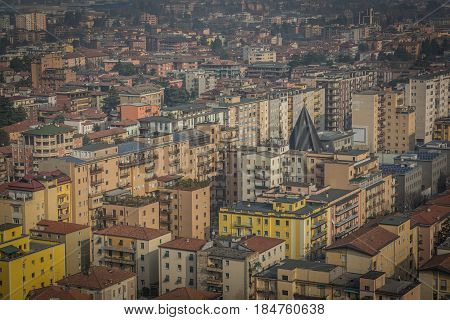 View from above on the city of Brescia, early spring morning. Italy
