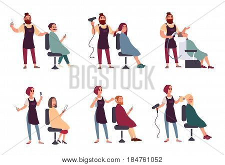 Set of different hairdresser. Trendy man and woman in barbershop, hairdressing salon. Services: makes styling, dries, washes, cuts hair and mustache collection. vector illustration in flat style