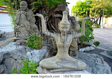 The faces of the holy philosophers are immortalized in stone, they are in the Temple of Philosophy and Religion of the Temple complex of Buddhism, Southeast Asia, they point to the secret signs of Buddhism and Hinduism. Holy symbols and drawings call pilg