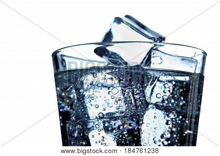 Glass Of Mineral Carbonated Water With Ice.closeup.isolated
