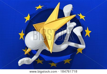Leaving The European Union With The Original 3D Character Illustration Struck By A Star