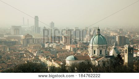 View of the city of Brescia. Morning italy