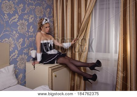 Young Sexy Chambermaid With Duster