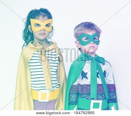 Buddy friends schooler wearing superheroes costume