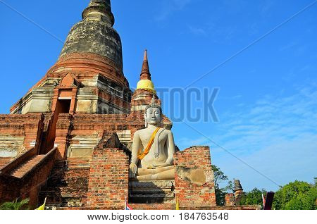 Ancient, architectural Temple complex of Buddhism, striking with its exquisite beauty and architecture of the building, the temple is decorated with flowers, secret signs. Buddha looks afar, and Holy symbols and drawings call pilgrims to the knowledge of