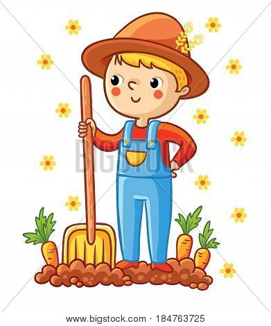 A young farmer in a garden with a carrot. The boy grows vegetables. Vector illustration with a farmer shovel and carrots.