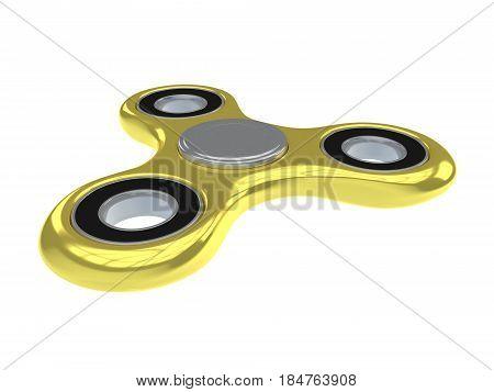 Hand Holding Fidget Spinner Golden Toy