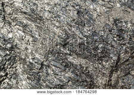 Beautiful Brilliant Piece of Coal that can be used as Stone Background. Natural Black Anthracite Texture with Shining Surface