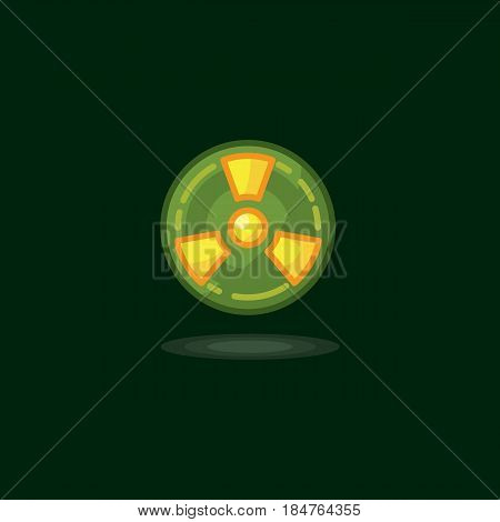 Vector illustration radiation symbol, radiation sign, radioactive waste, radiation activity on a black background