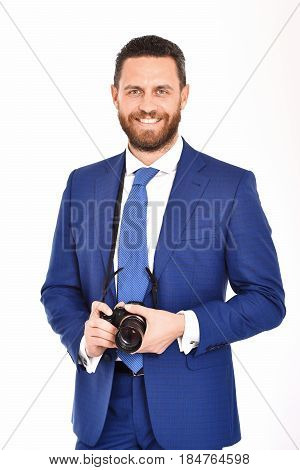 Man Or Happy Businessman With Photo Camera, Photographer, Journalist