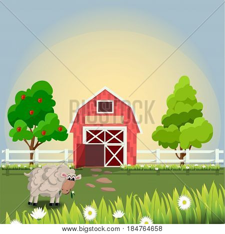 High quality original trendy vector illustration of a cute sheep on farm with fruit trees and chamomile, Farm animals collection.