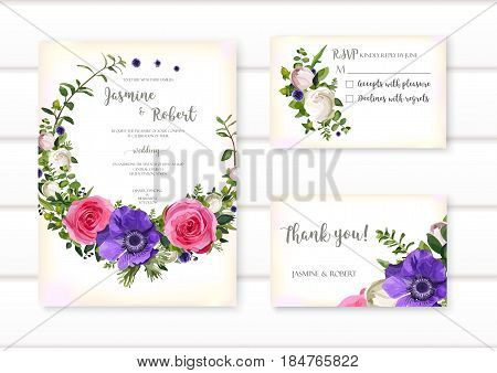 Set of flower Anemone and rose wreath wedding ornament concept. Art traditional poster abstract element. Vector beautiful floral layout decorative ethnic greeting card or invitation design background