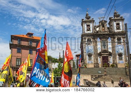 PORTO, PORTUGAL - MAY 1, 2017: Celebration of May Day in the Oporto centre. General Confederation of Portuguese workers, traditionally associated with the Communist party, has 800.000 members.