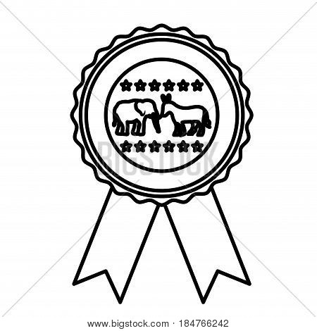 Elephant and donkey icon. Vote president election government  and campaign theme. Isolated design. Vector illustration