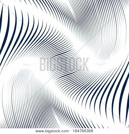 Black and white moire lines striped psychedelic vector background. Op art style contrast pattern.