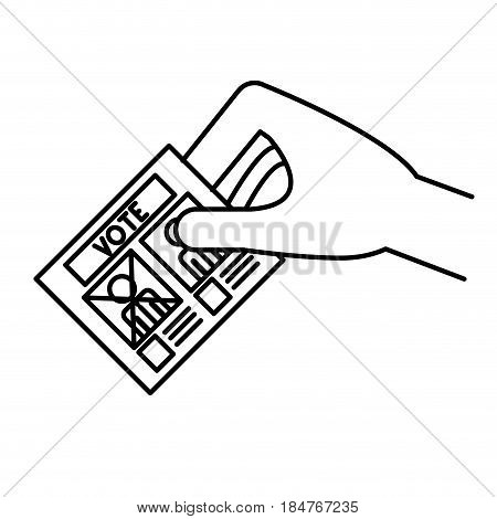 Hand and card icon. Vote president election government  and campaign theme. Isolated design. Vector illustration