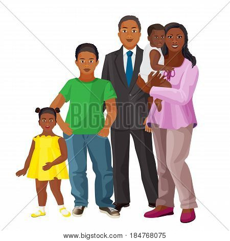 Afro-american happy family consisting of parents and three children vector colorful illustration on white background