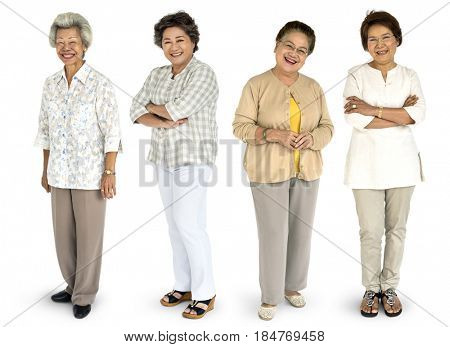 Group of Asian Senior Adult Women People Set Studio Isolated