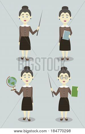 Set of female professional teacher isolated on light background