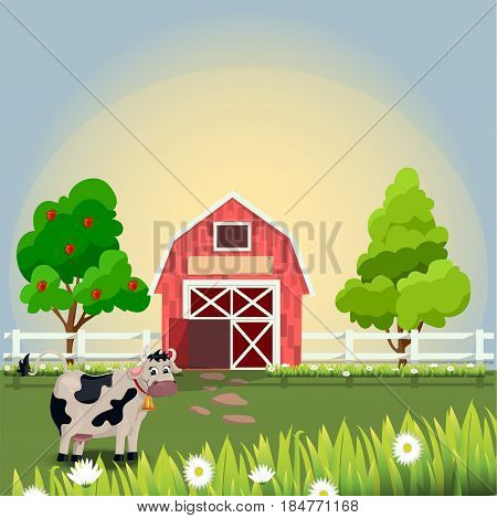 Very high quality original trendy vector illustration of a cute cow with bell on farm with fruit trees and chamomile, Farm animals collection.. Farm animals collection