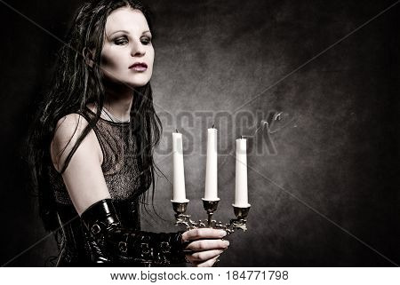 Gothic Girl With Candles