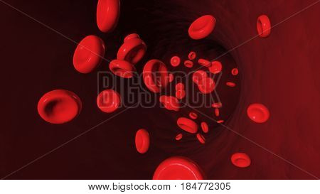 3D Illustration Of Red Blood Cell Flowing In Artery