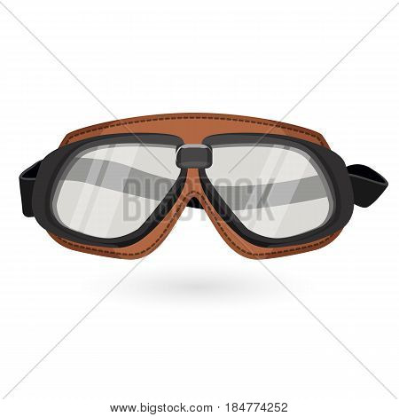 Brown aviation goggles in vintage style isolated on white. Equipment for aviator vector illustration of glasses for pilots with elastic rubber behind.