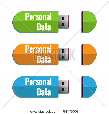 Three isolated usb flash drives with the text personal data written on each usb drive