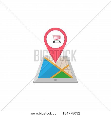 Shopping cart map pointer flat icon, mobile gps navigation and location, store pin on tablet vector graphics, a colorful solid pattern on a white background, eps 10.