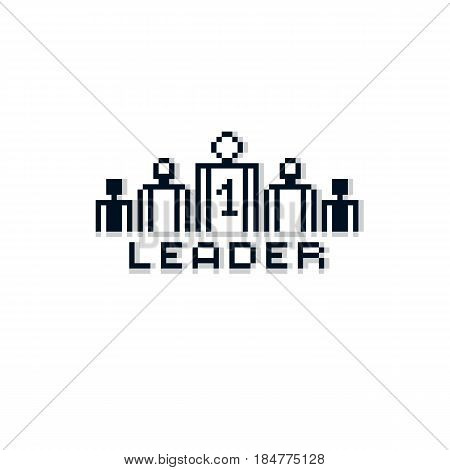Vector pixel icon isolated 8bit graphic element. Leader concept number one between a team of managers. Simplistic digital sign created in business theme.