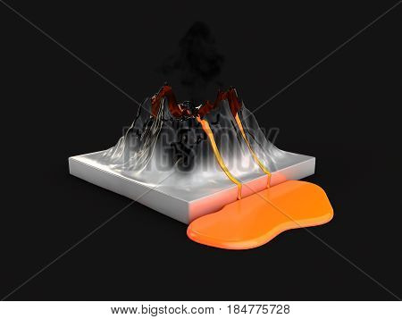 Crater mountain volcano and eruption lava hot natural eruption 3d illustration. isolated black
