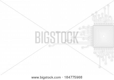 Abstract gray white background. Electric circuit cpu microprocessor neutral template. Technology IT business concept cover vector illustration presentation art