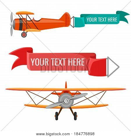 Two biplanes with advertising posters vector illustration air means of transportation with attached green and ruddy banners