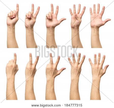 Male Hands Counting From One To Five Isolated