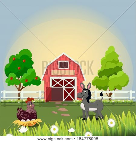 Very high quality original trendy vector illustration of happy and cheerful donkey and hen on farm with fruit trees and chamomiles, farm animal