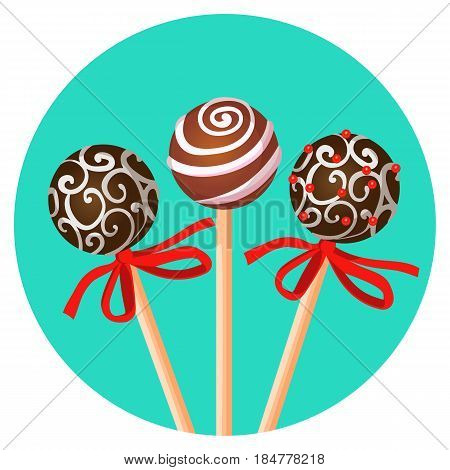 Three bonbones on stick with ornamental brown chocolate caramel and red decorative tapes vector illustration on blue background