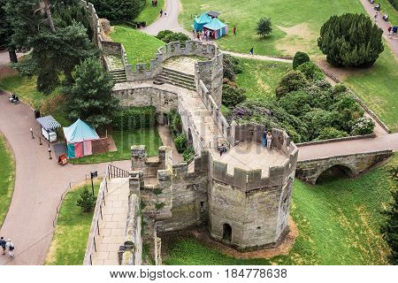 The view from the top of medieval Warwick Castle. The Bear and Clarence Towers which were built by King Richard III in the 1480s. Warwick Warwickshire United Kingdom