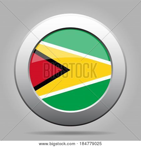 National flag of Guyana. Shiny metal gray round button with shadow.