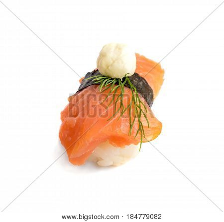 Nigiri Sushi With Salmon And Seaweed Nori On White Background