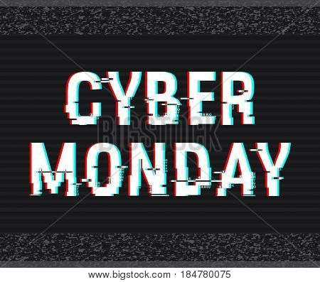 Cyber Monday glitch text. Anaglyph 3D effect. Technological retro background. Online shopping concept. Sale e-commerce retailing discount theme. Vector illustration. Creative web template.
