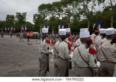 Paris. France. July 14 2012. The ranks of the legionaries pioneers of the French foreign legion during parade time on the Champs Elysees in Paris.